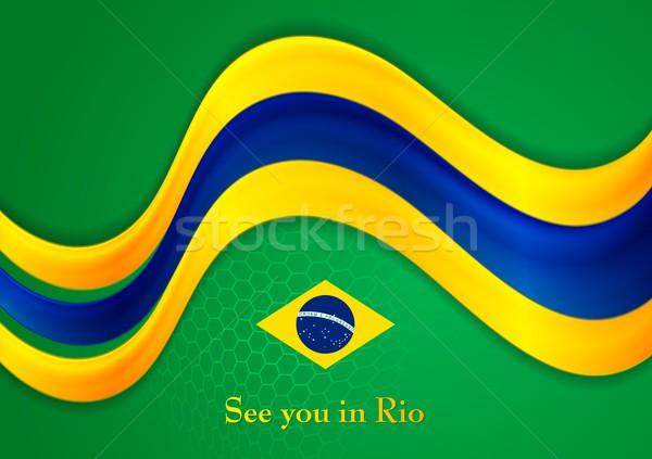 Brasil colores resumen vector ondulado empresarial Foto stock © saicle