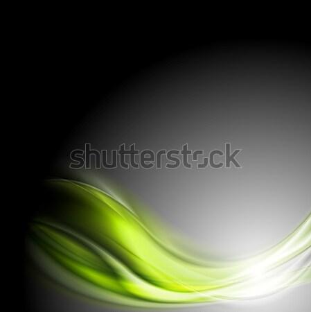Foto stock: Verde · ondas · escuro · vetor · projeto