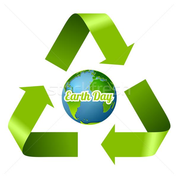 Föld napja terv újrahasznosít nyilak vektor grafikus Stock fotó © saicle