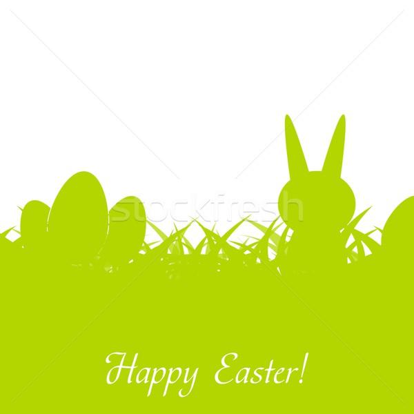 Сток-фото: зеленый · Пасху · кролик · яйца · трава · счастливым