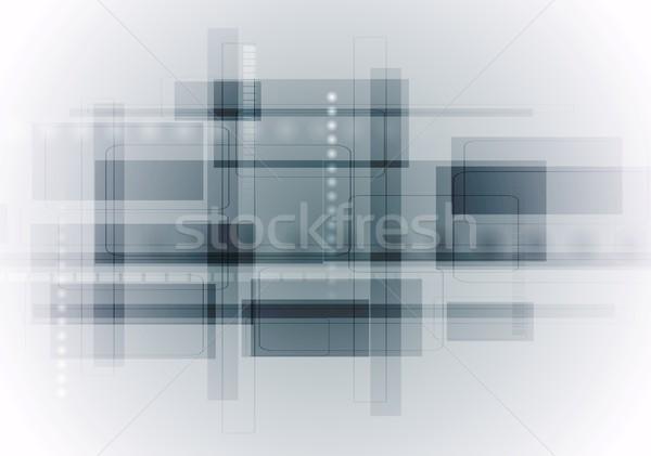 Luz azul abstrato tecnologia geométrico tecnologia vetor Foto stock © saicle