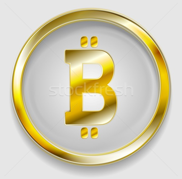 Crypto currency, golden icon bitcoin design Stock photo © saicle