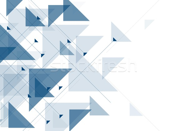 Blue triangles abstract geometric design Stock photo © saicle