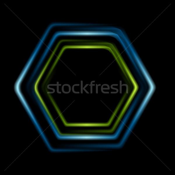 Heldere abstract zeshoek logo vector ontwerp Stockfoto © saicle