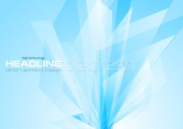 シアン 抽象的な ハイテク 幾何学的な デザイン ストックフォト © saicle