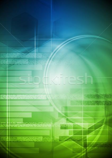 Vektor technikai kék zöld eps 10 Stock fotó © saicle
