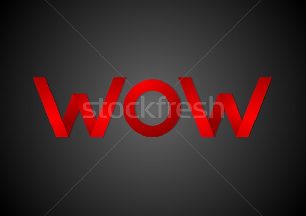 Wow dark contrast paper corporate sign Stock photo © saicle