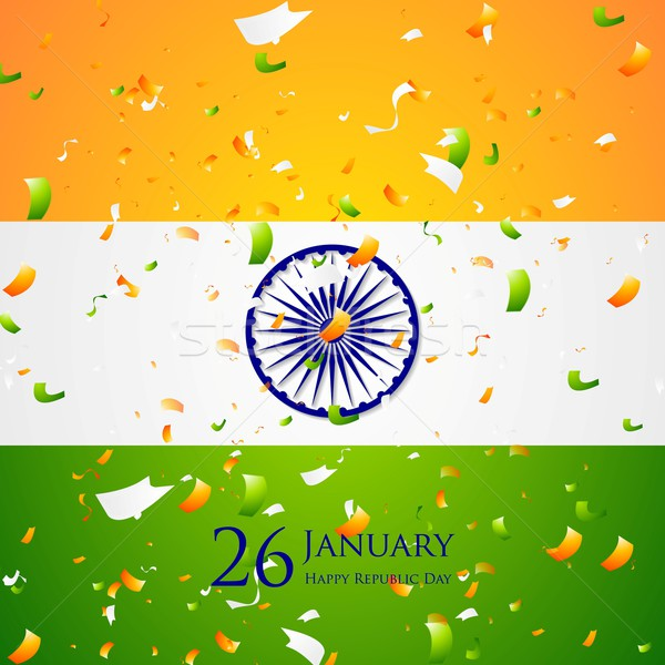 Bright confetti on Indian flag background Stock photo © saicle