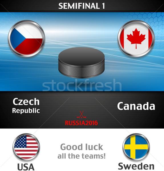 Stockfoto: Wereld · kampioenschap · hockey · zwarte · vector · grafische