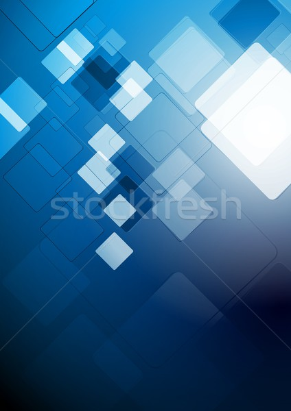 Stockfoto: Abstract · tech · ontwerp · Blauw · vector · pleinen