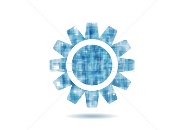 ストックフォト: 抽象的な · 青 · 技術 · ギア · デザイン · ベクトル