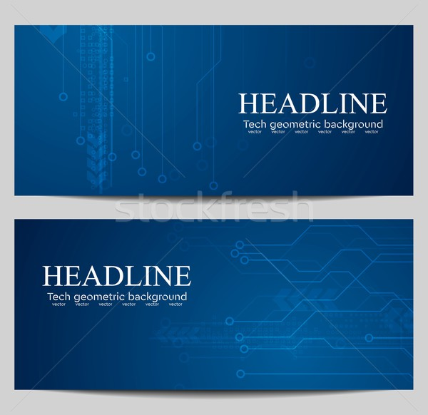 Blauw tech banners circuit board ontwerp vector Stockfoto © saicle