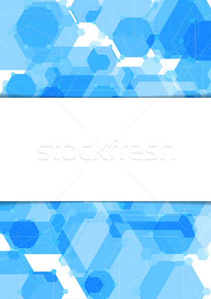 Stock photo: Abstract geometric blue hexagons flyer