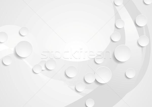 Geométrico gris ondulado tecnología resumen empresarial Foto stock © saicle