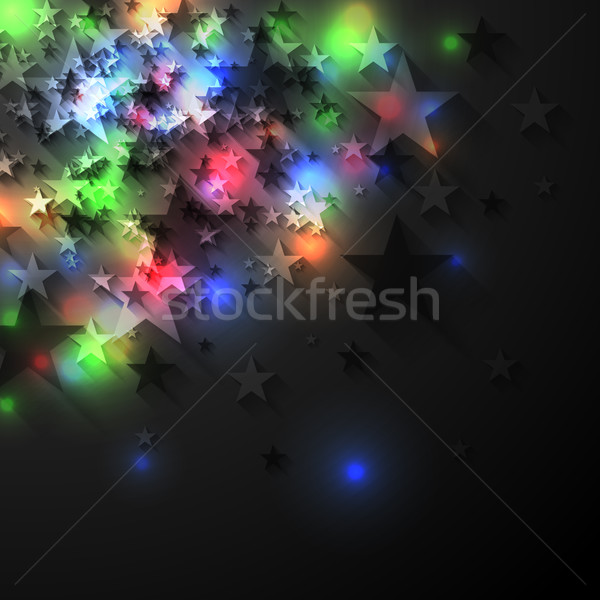 Colorful glowing luminous stars on dark background Stock photo © saicle