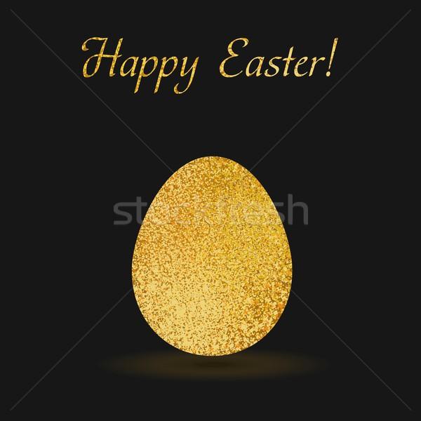Stok fotoğraf: Altın · easter · egg · siyah · yumurta · parıltı · vektör