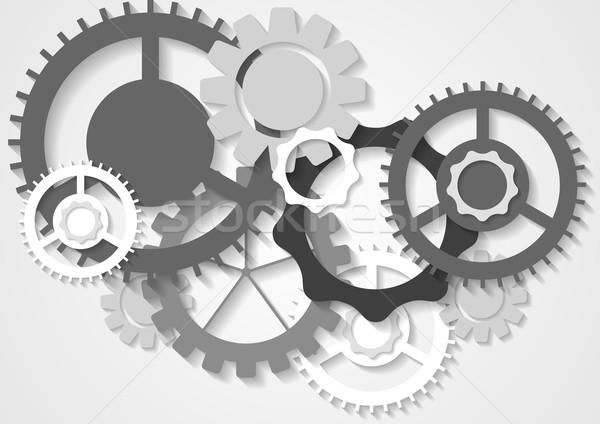 Szürke tech vektor sebességváltó mechanizmus absztrakt Stock fotó © saicle