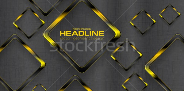 Black yellow contrast tech background Stock photo © saicle
