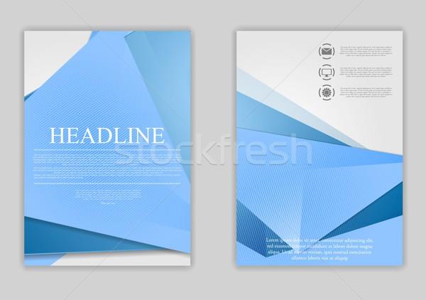 Abstract blue minimal tech flyer design Stock photo © saicle