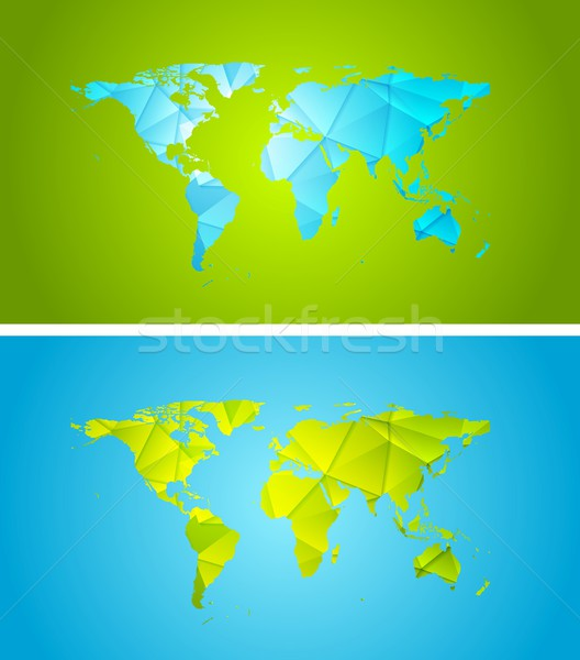 Bright abstract tech polygonal world map design Stock photo © saicle