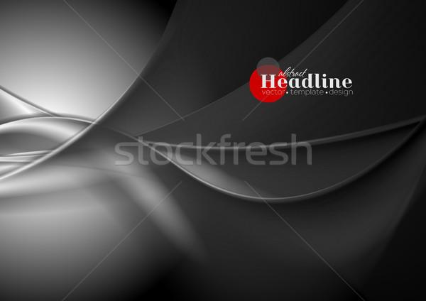 Absztrakt fekete hullámos vektor művészet textúra Stock fotó © saicle