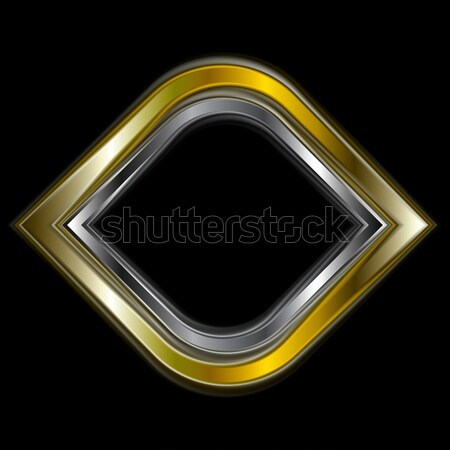 Bright gold and silver metal logo shape Stock photo © saicle