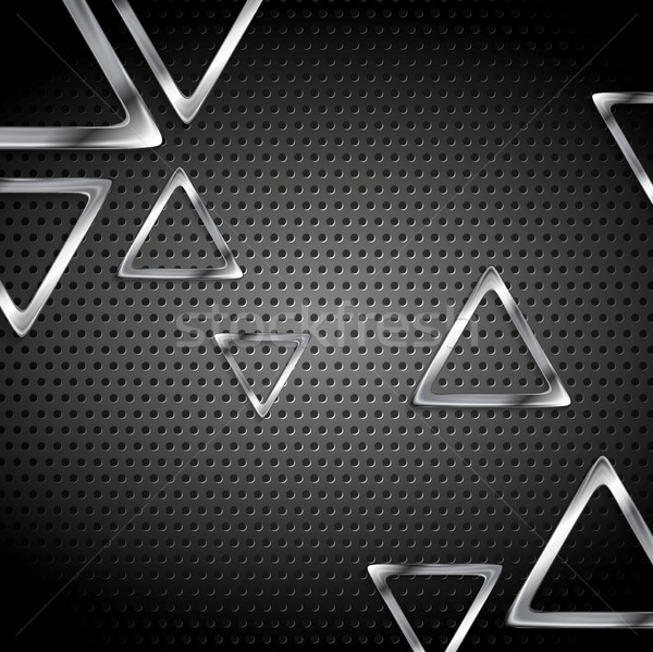 Abstract metal perforated background with metallic triangles Stock photo © saicle