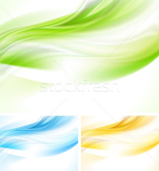 Renkli dalgalı dizayn parlak dalga arka Stok fotoğraf © saicle