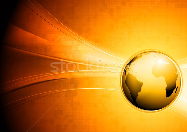 Technology waves background with globe Stock photo © saicle
