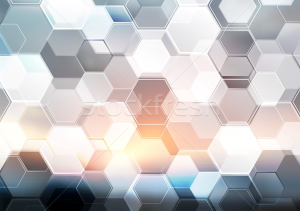Abstract modern tech hexagon texture design Stock photo © saicle