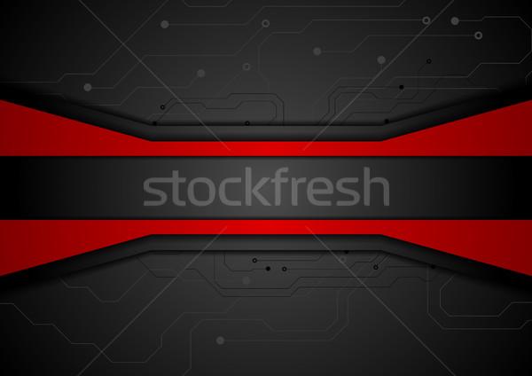 Contrasto rosso nero tech abstract circuito Foto d'archivio © saicle
