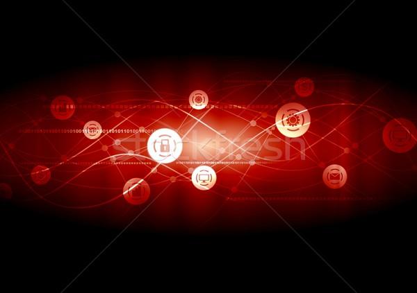Dark red communication network wavy background Stock photo © saicle