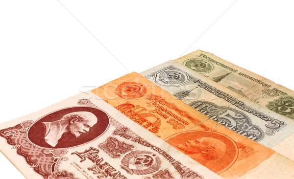 Ingesteld vier oude sovjet- bankbiljetten witte Stockfoto © saicle