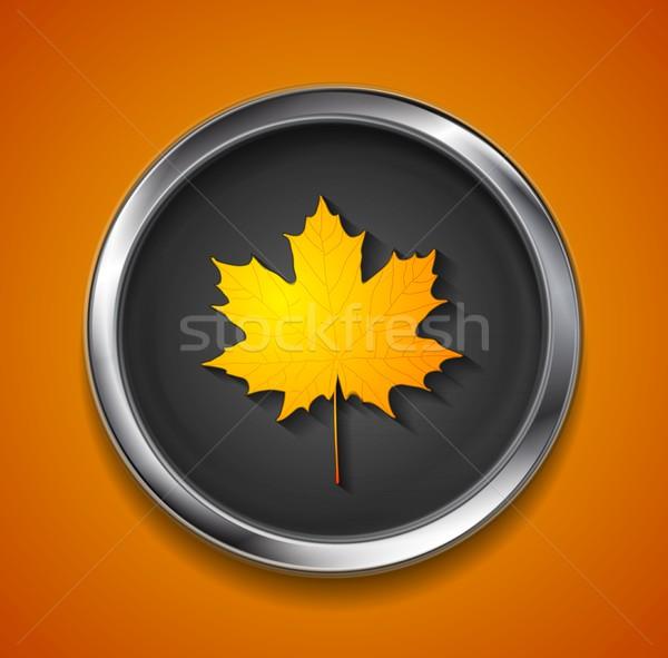 оранжевый осень Maple Leaf металл кнопки вектора Сток-фото © saicle