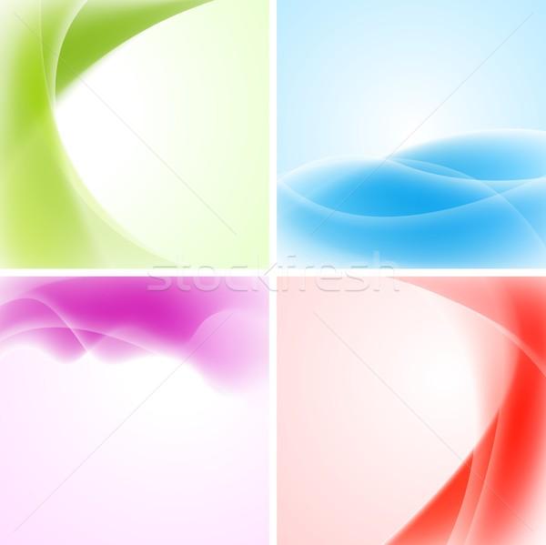 ストックフォト: カラフル · 波 · デザイン · 抽象的な · 背景 · ベクトル