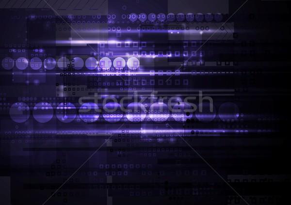 Stock photo: Dark shiny purple tech background