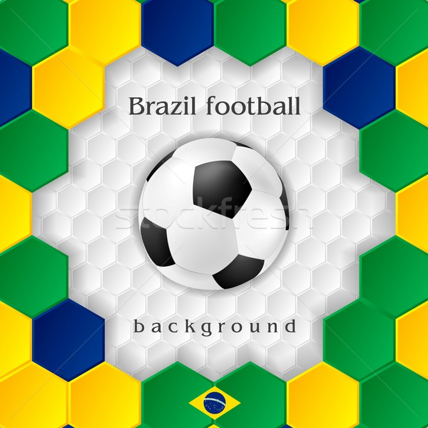 Bright soccer background with ball. Brazilian colors Stock photo © saicle