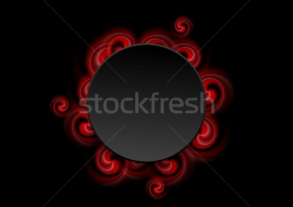 Abstract Red Swirl Shapes And Black Circle Vector