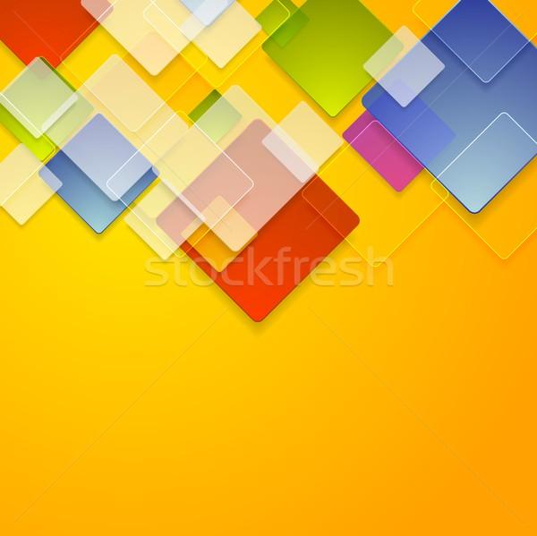 Színes üveg négyzetek absztrakt vektor mértani Stock fotó © saicle