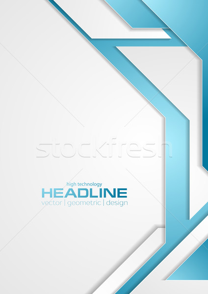 Blue and grey tech corporate flyer background Stock photo © saicle