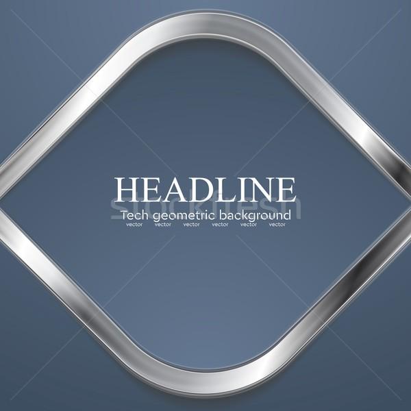 Silver metal rhombus shape on blue background Stock photo © saicle