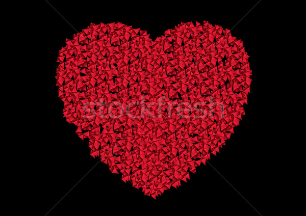 Ruby red heart from small polygonal shapes Stock photo © saicle