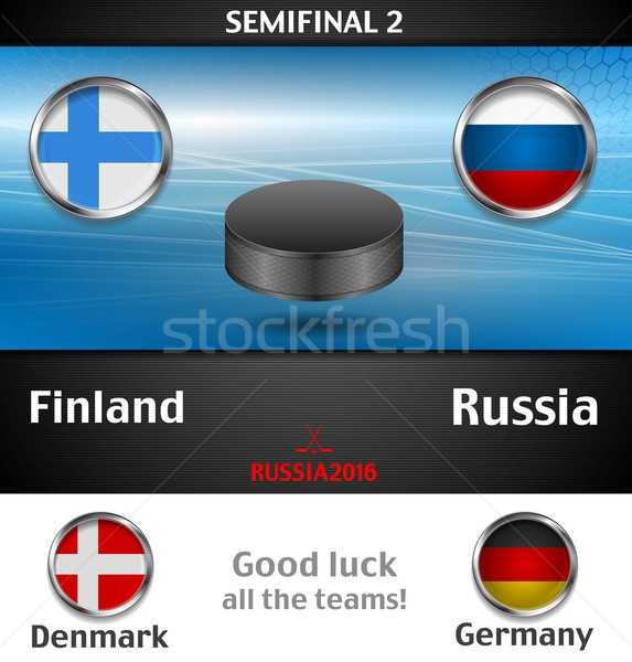 Semifinal of the world championship hockey background with black puck Stock photo © saicle