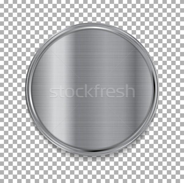 Tech metallic texture circle button Stock photo © saicle