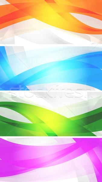Szett vibráló bannerek absztrakt színes hullámok Stock fotó © saicle