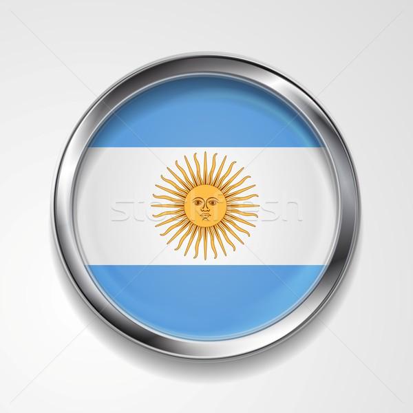 Stock fotó: Absztrakt · gomb · fémes · keret · argentín · zászló
