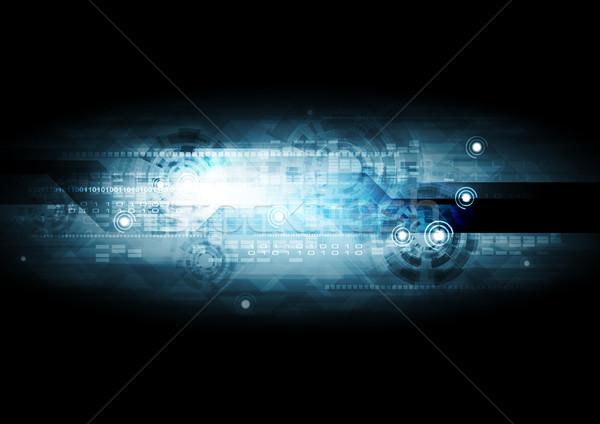 Sötét kék vektor absztrakt bináris kód sebességváltó Stock fotó © saicle