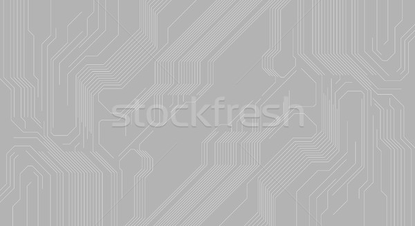 Grey abstract background with hi-tech circuit board chip Stock photo © saicle
