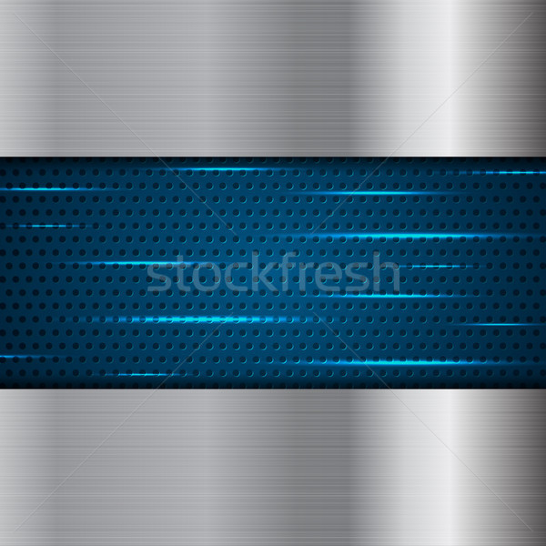 Blue metal and silver perforated background Stock photo © saicle