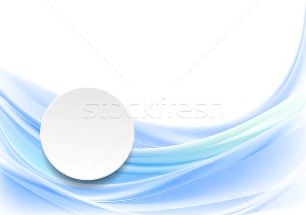 Blue smooth wavy background with blank circle Stock photo © saicle